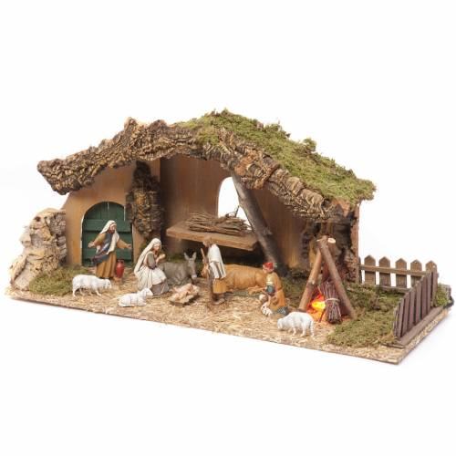 Nativity setting, stable with fire and fence 25x56x21cm s3