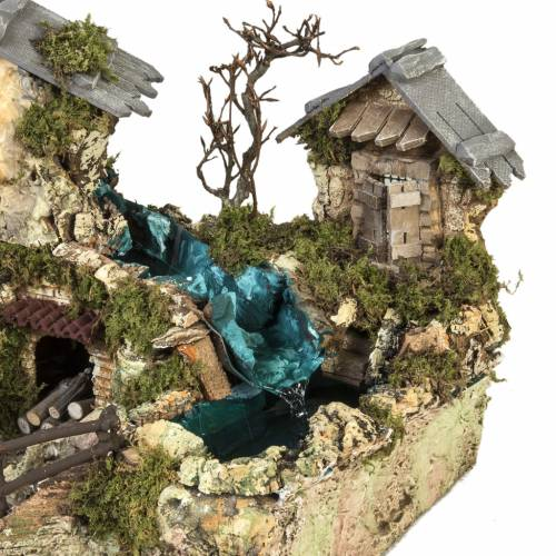 Nativity setting, waterfall between houses s4