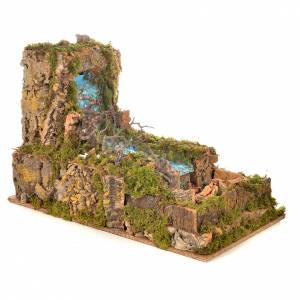 Nativity setting, waterfall with stream and pump 60x34cm s7