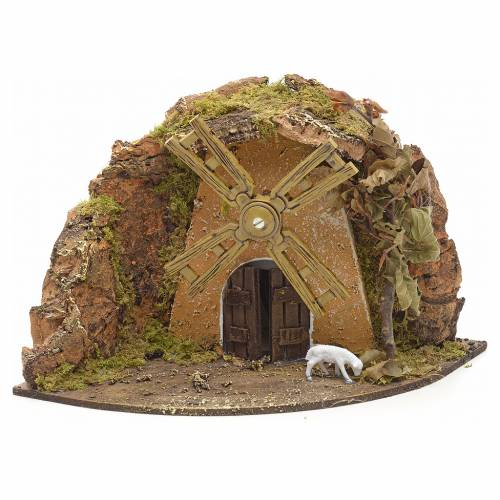 Nativity setting, wind mill with goat 13x22x14cm s1