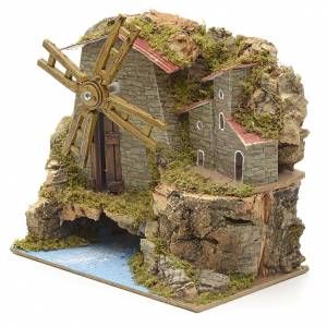 Nativity setting, wind mill with river and village 17x18x10,5cm s2