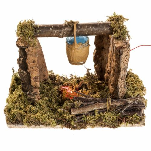 Nativity setting with battery LED fire and bucket s1