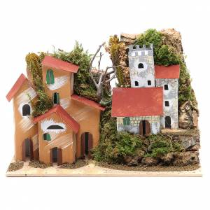 Settings, houses, workshops, wells: Nativity setting with castle 22x28x15cm
