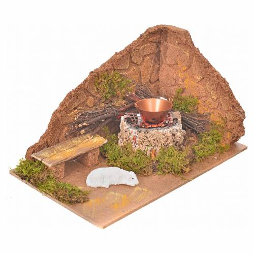Nativity setting with flame effect fire and sheep 10x20x12cm s2
