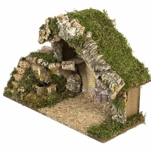 Nativity stable with door and fountain 28x42x18cm s3