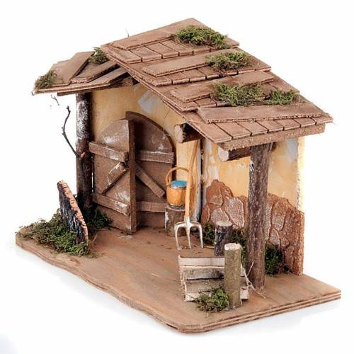 Nativity stable with plaster wall and tools s4
