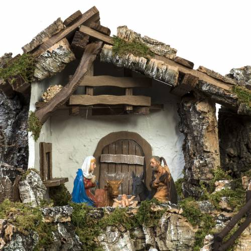 Nativity stable with windmill and waterfall s7