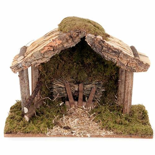 Nativity stable, wood, moss and cork s1