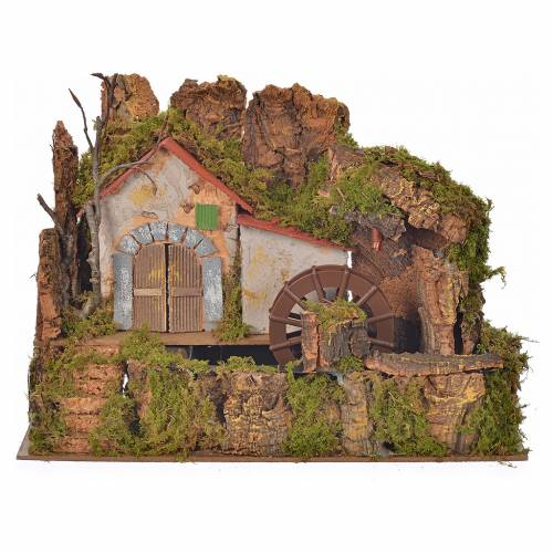 Nativity water mill with pump 33x18x25cm s1