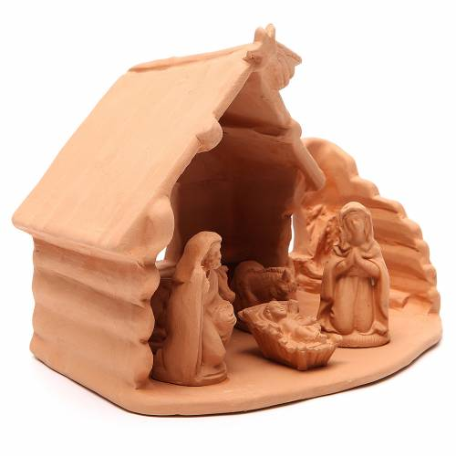 Nativity with Shed terracotta 20x22x16cm s3