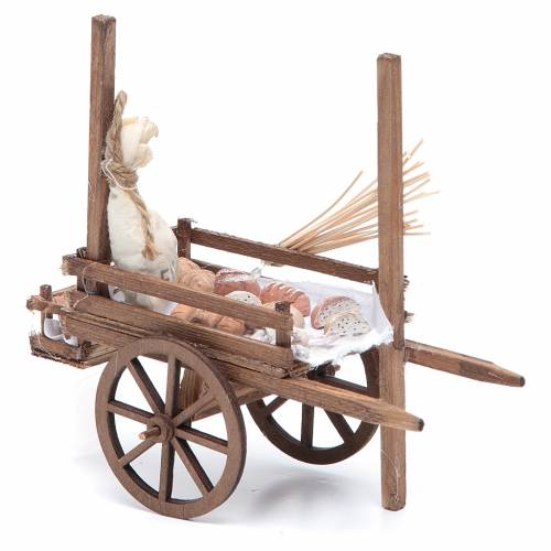 Neapolitan Nativity accessory, bread and cheese cart, terracotta s6