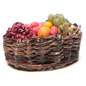 Neapolitan Nativity accessory: fruit basket measuring 4x2.5cm s1