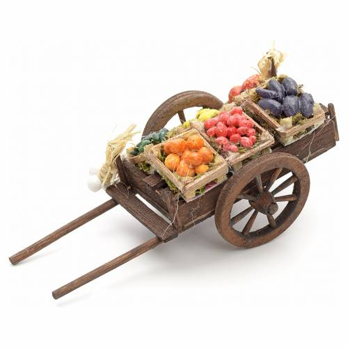 Neapolitan nativity accessory, fruit cart 8cm s2