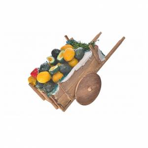 Neapolitan Nativity accessory, melon and watermelon cart in wax s2