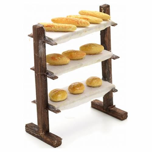 Neapolitan nativity accessory, shelf with bread 12cm s2
