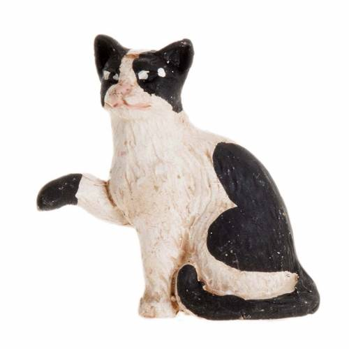 Neapolitan Nativity figurine, Black and white cat 14cm 1