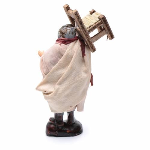 Neapolitan Nativity figurine, man carrying chair, 8 cm s2