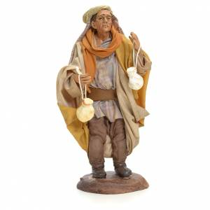 Neapolitan Nativity figurine, man with caciotta cheese, 18 cm s1