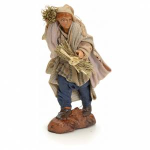 Neapolitan Nativity figurine, man with hay, 8 cm s1