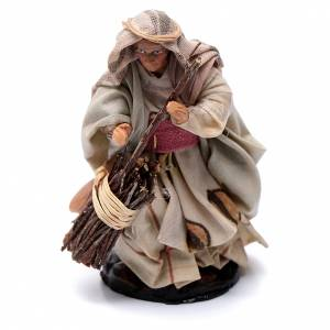 Neapolitan Nativity figurine, Old woman with broom 8cm s1