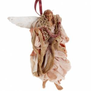 Neapolitan nativity figurine, pink angel 18cm s2