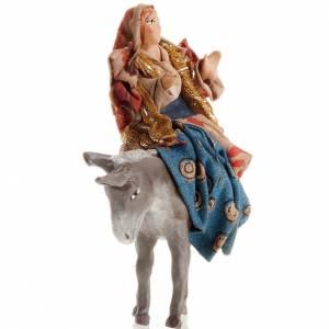 Neapolitan Nativity figurine, Woman on ass 8cm s2
