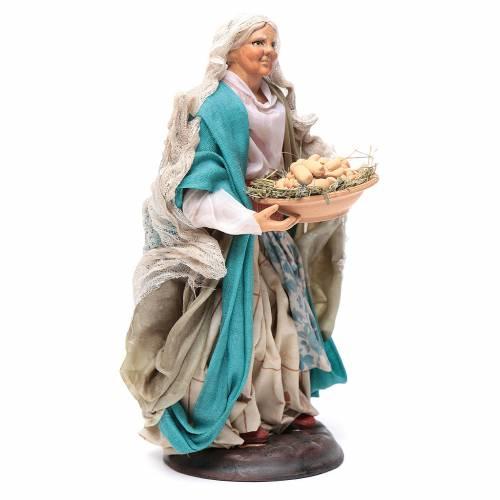 Neapolitan nativity figurine, woman with egg basket 18cm s3