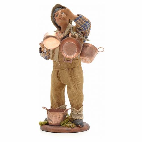 Neapolitan Nativity figurine, young boy with copper pans, 14cm s2