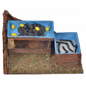 Neapolitan Nativity Scene: Neapolitan Nativity scene, eels and mussels stall 7x11x7,5cm