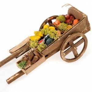 Neapolitan Nativity Scene: Neapolitan set accessory handcart wood with fruit and vegetables