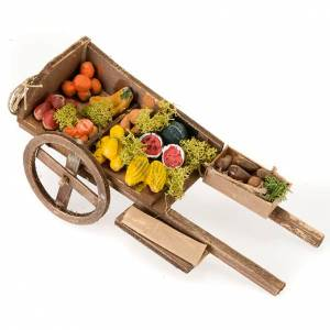 Neapolitan Nativity Scene: Neapolitan set accessory handcart wood with fruit and vegetables
