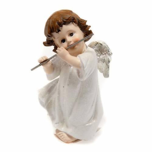 Ángel blanco con flauta travesera 14 cm. adorno de navida s1