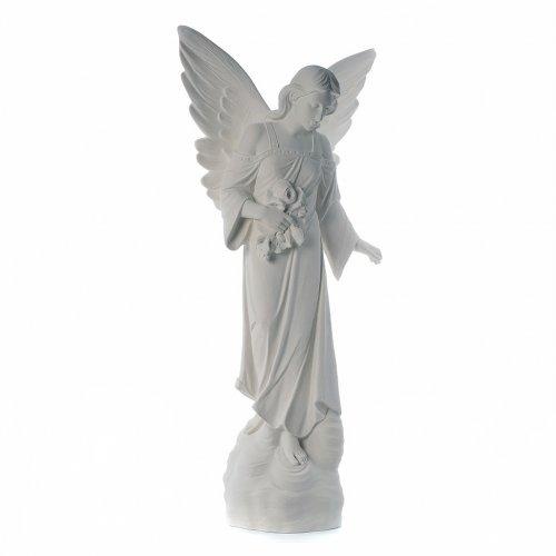 Ángel con flores 100cm mármol blanco s4