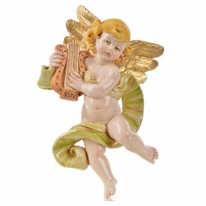 Ángel con lira Fontanini cm. 17 símil porcelana s1