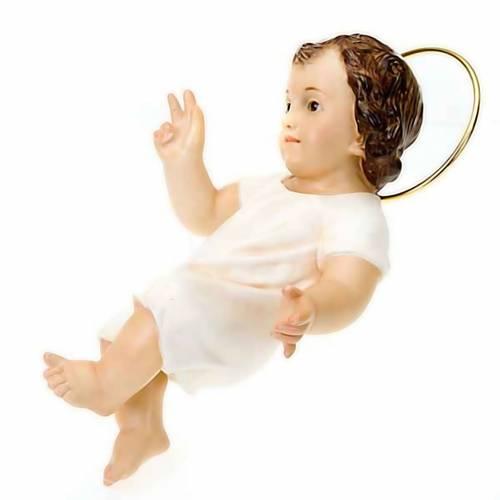 Niño Jesús vestido blanco bendecidor madera 25 cm s2