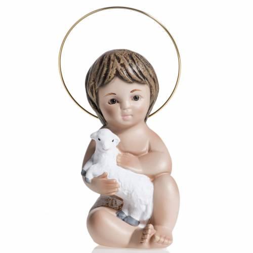 Niño Jesús con cordero  de yeso 20cm s1