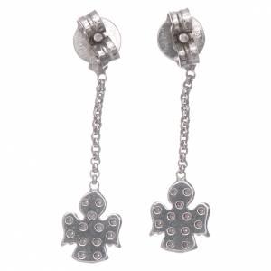 Anhänger, Kreuze, Broschen: Ohrringe AMEN mit Engel Anhänger Silber 925 und Zirkonen