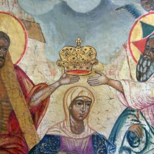 Old Russian Icon Coronation of the Mother of God s2