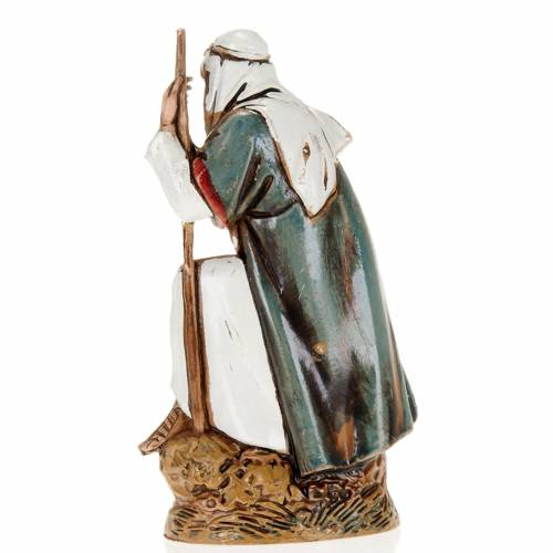 Old shepherd with walking stick, nativity figurine, 10cm Moranduzzo s2