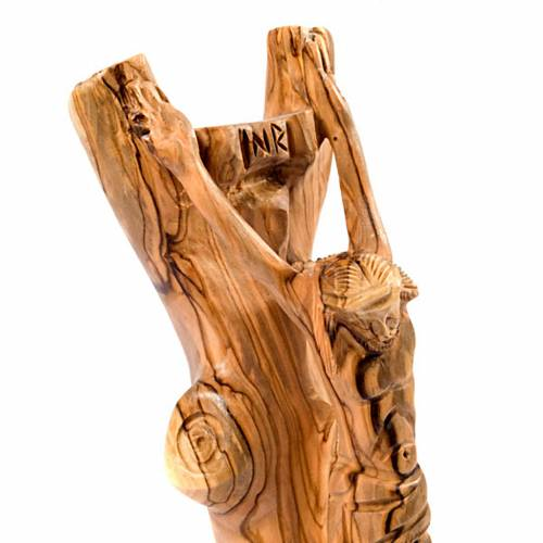 Olive wood crucifix on trunk s3