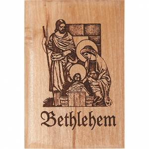 Religious Magnets: Olive wood magnet- Holy family in Bethlehem