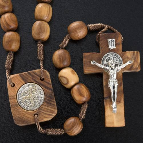 Olive wood rosary with Saint Benedict medal s2