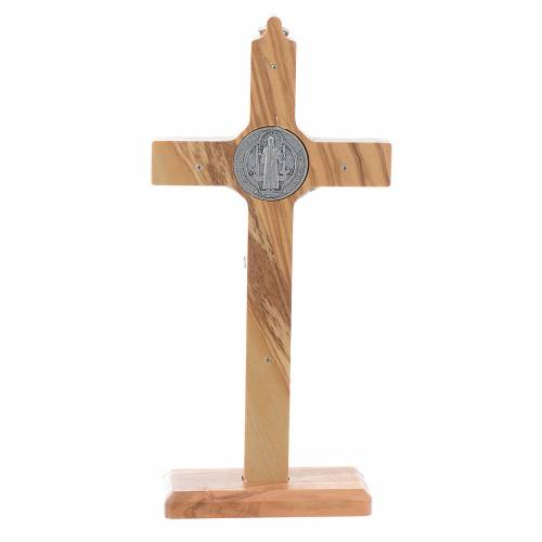 Olive wood Saint Benedict cross table and wall s4