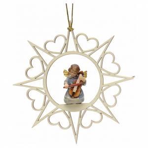 Décorations sapin bois et pvc: Ornement sapin Noël ange avec violon