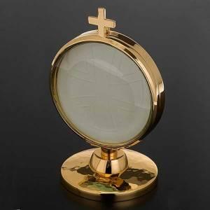 Ostensoir de chapelle laiton doré 8.5 cm diamètre s2