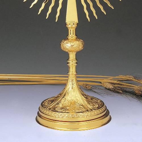 Ostensorio ottone dorato decorazioni floreali s3