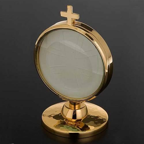 Ostensorio teca ottone dorato diam cm 8,5 s2