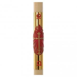 Kerzen: Osterkerze Bienewachs mit EINLAGE roten Kreuz goldenen Hintergrung 8x120cm