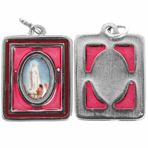 Our Lady of Fatima medal, rectangular and enamelled 25mm s1