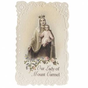 Holy cards: Our Lady of Mount Carmel holy card with prayer in ENGLISH
